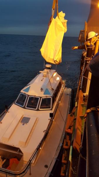 De ruige dwergvleermuis wordt overgedragen aan De Roos, die haar naar IJmuiden zal brengen.